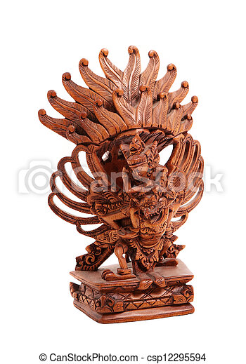 Wooden statue of the Hindu god on the white background - csp12295594