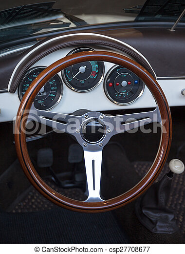 Wooden Steering Wheel And Leather Dashboard Of A Classic Vintage Car