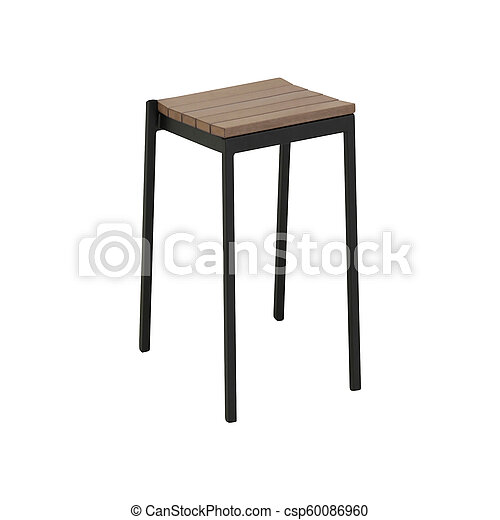wooden stool isolated on white background - csp60086960