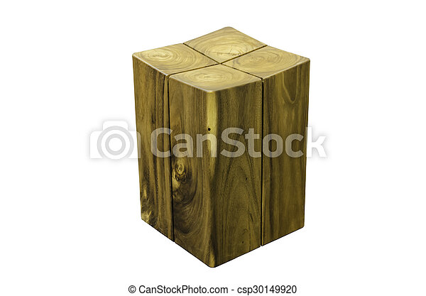 wooden stool isolated on white background. - csp30149920