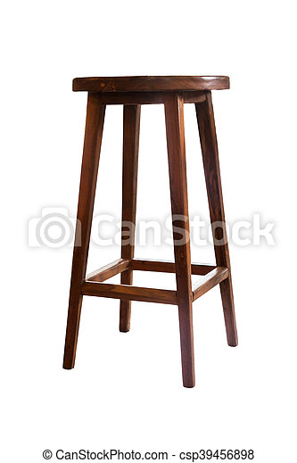Wooden stool isolated on white background - csp39456898