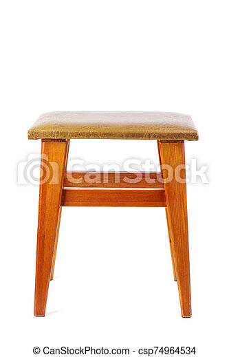 Wooden stool isolated on white background - csp74964534