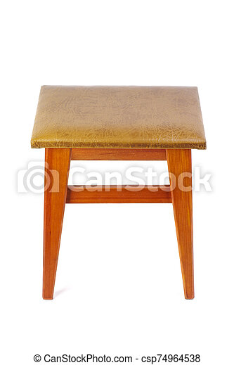 Wooden stool isolated on white background - csp74964538