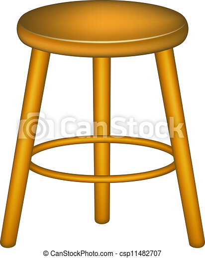 Wooden Stool In Retro Design On White Background