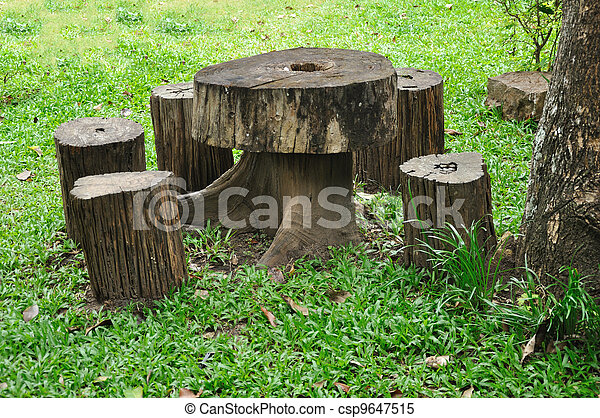 Wooden Stump Chair And Table   Csp9647515