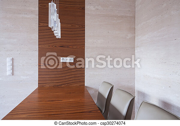 Wooden table in dining room - csp30274074