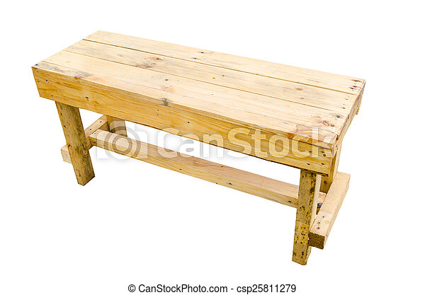 wooden table isolated on white background. - csp25811279