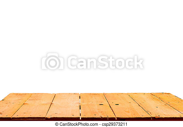 Wooden table isolated on white background - csp29373211
