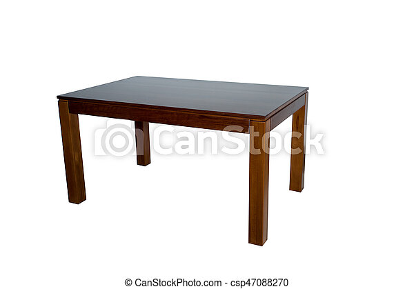 Wooden table isolated on white background - csp47088270