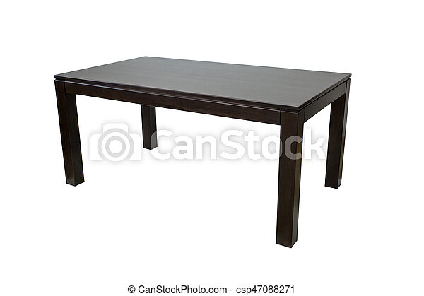 Wooden table isolated on white background - csp47088271