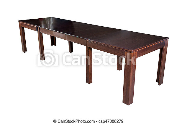 Wooden table isolated on white background - csp47088279
