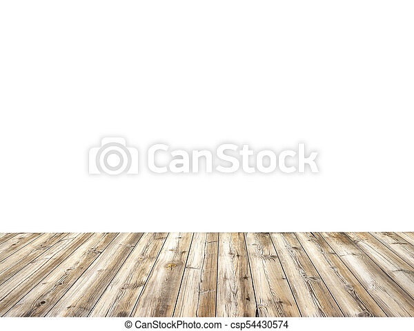 Wooden table isolated on white background - csp54430574