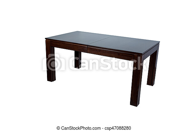 Wooden table isolated on white background - csp47088280
