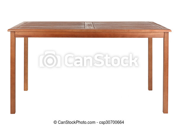 Wooden table isolated on white background - csp30700664