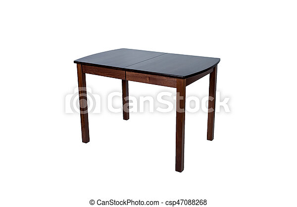 Wooden table isolated on white background - csp47088268