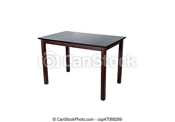 Wooden table isolated on white background - csp47088269