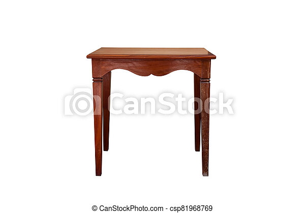 Wooden table isolated on white background, - csp81968769