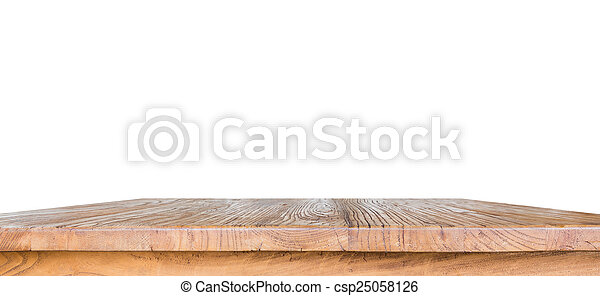Wooden table isolated on white background - csp25058126