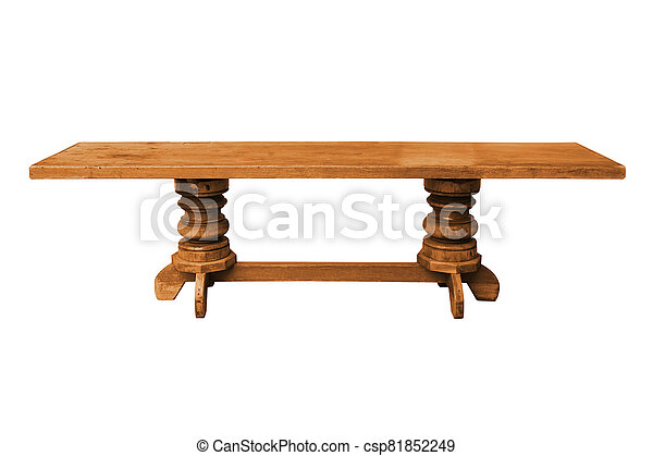 Wooden table isolated on white background - csp81852249