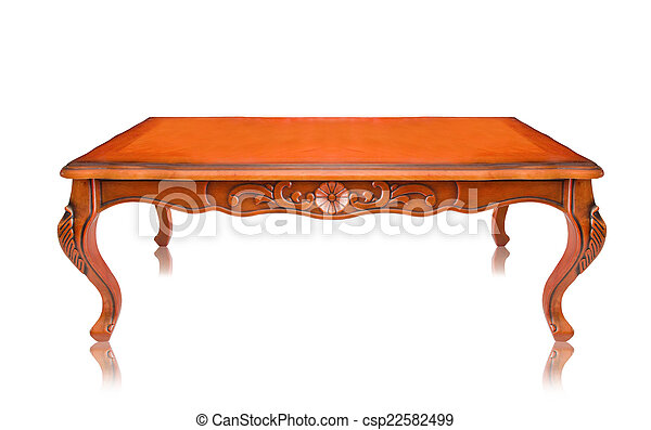 wooden table isolated on white background - csp22582499