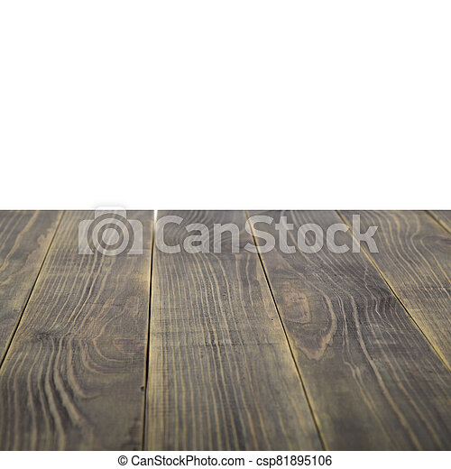 Wooden table isolated on white background. - csp81895106