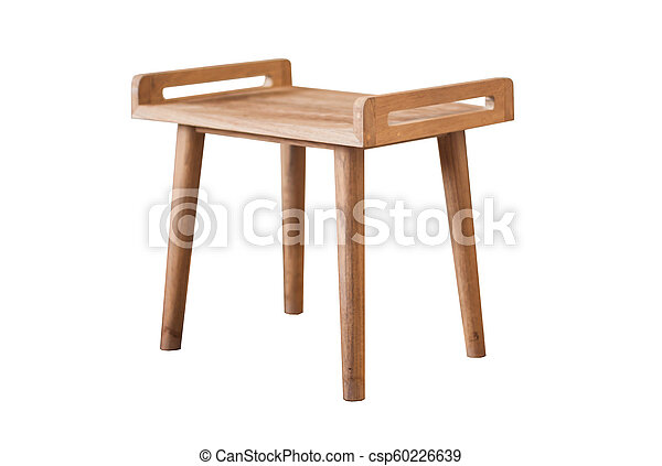 Wooden table isolated on white background - csp60226639