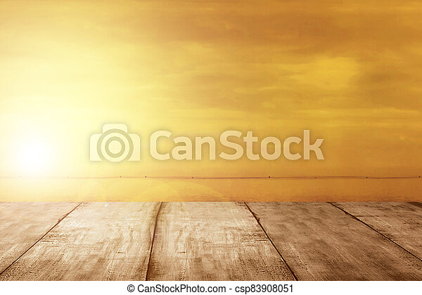 Wooden table on the beach - csp83908051
