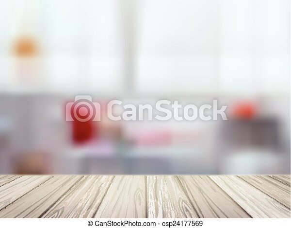 Close up look at wooden table over blurred kitchen scene clip art