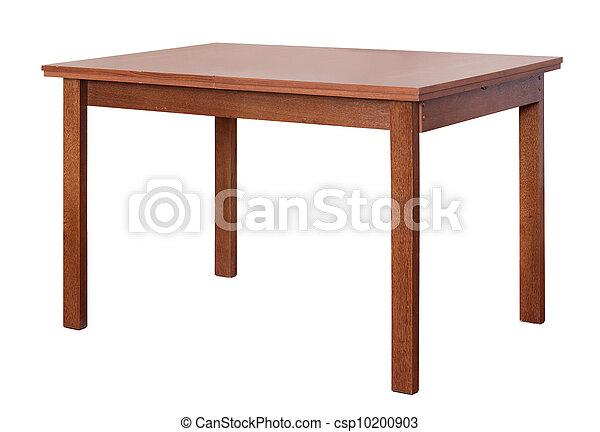 wooden table, witte , vrijstaand, achtergrond - csp10200903