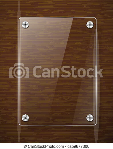 Wooden texture with glass framework. Vector illustration  - csp9677300