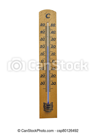 wooden thermometer isolated on white background - csp80126492