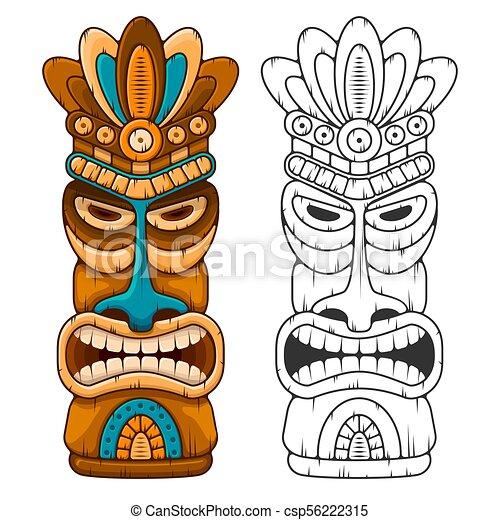 wooden tiki mask tiki tribal wooden mask hawaiian traditional