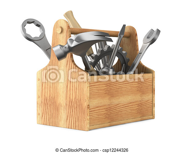 Wooden toolbox with tools. Isolated 3D image - csp12244326