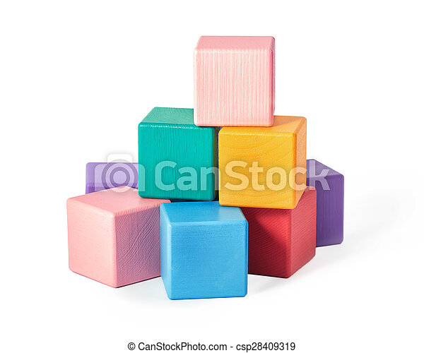 Wooden toy blocks on white background - csp28409319
