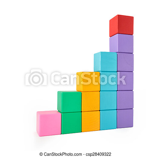 Wooden toy blocks on white background - csp28409322
