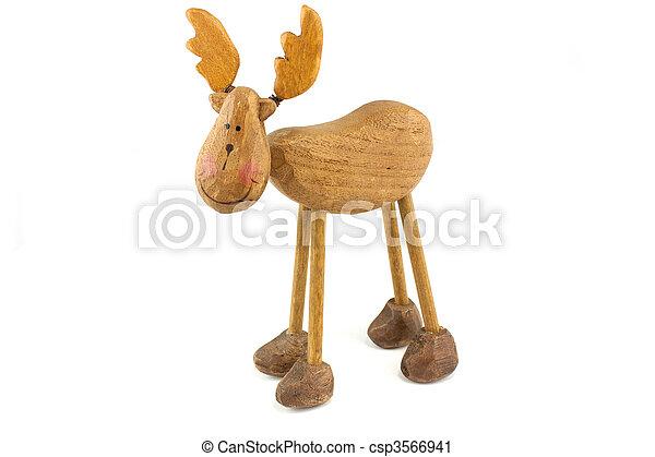 wooden toy reindeer - csp3566941