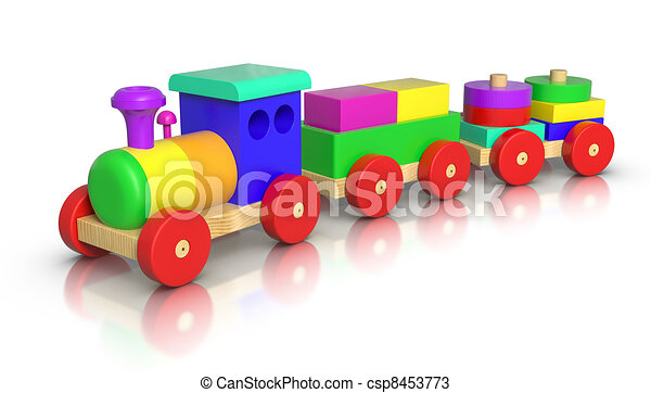 3d rendered wooden toy train on white background.