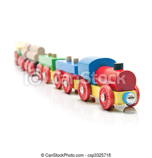 Wooden toy train with a locomotive and five carriages with a subtle reflection on a white background and a shallow depth of field - csp3325718