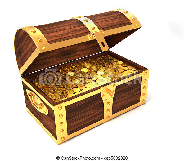 wooden treasure chest with gold coins printed with royal crown 3d