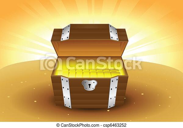 Wooden treasure chest - csp6463252