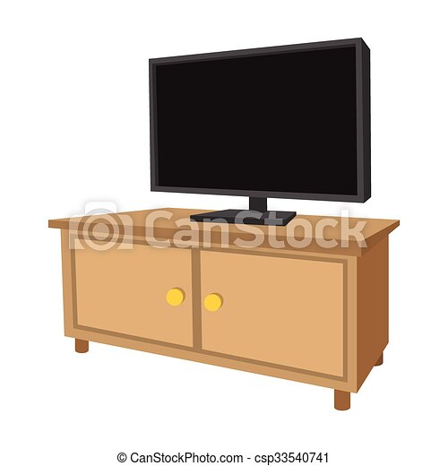 Wooden tv cabinet with a large tv cartoon icon on a white for Mueble vector