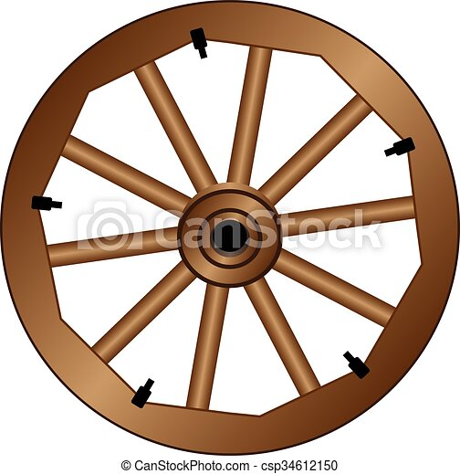 wooden wheel for an old wagon vintage wooden wheel clipart vector rh canstockphoto com broken wagon wheel clipart wagon wheel clipart free