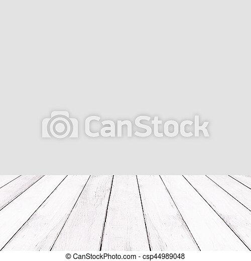 Wooden white balcony on gray background. - csp44989048