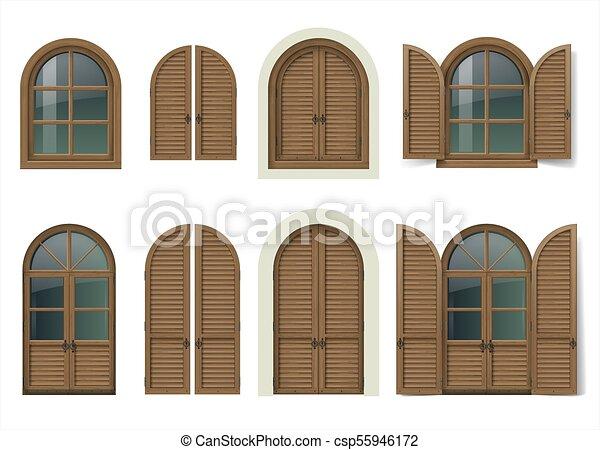 Wooden window and doors with shutters - csp55946172