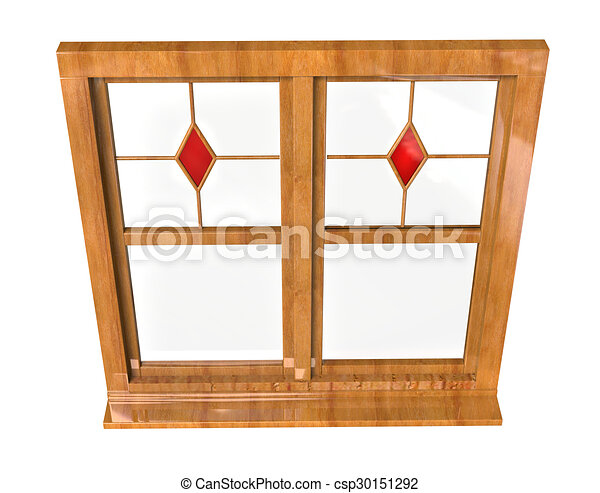 Wooden window frame - stained glass. Wooden window frame with ...
