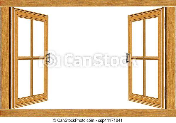 Wooden window frame. Old grunge wooden window frame illustration on ...