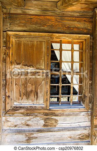Wooden window in rural Bulgaria - csp20976802