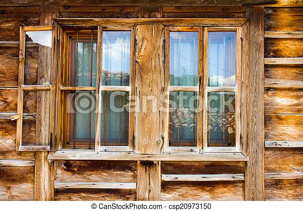 Wooden window in rural house - csp20973150