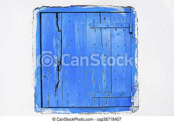 Wooden window shutter in Zakynthos island, Greece - csp38718407