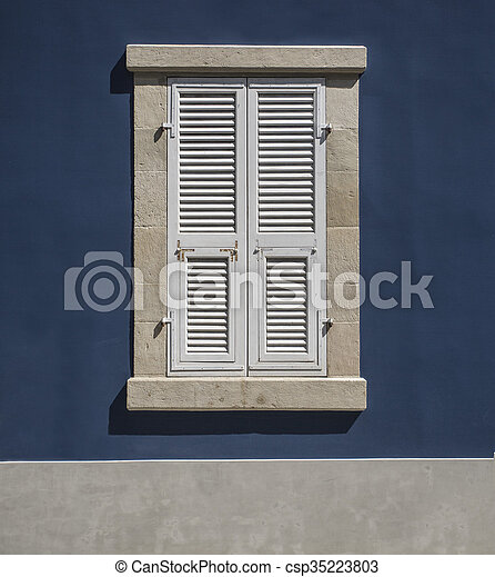 Wooden window shutters - - csp35223803